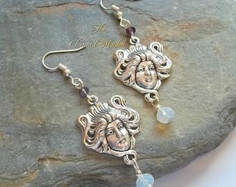 Art Nouveau Goddess Earrings, Silver Goddess Earrings, Opalite Earrings, Bridal Jewellery, Wedding Jewelry