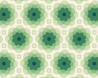 Taos Echo Bloom, Tucson Fabric, Abstract Flower - Florabelle Collection Joel Dewberry - Free Spirit PWJD151 Green - Priced by the Half yard