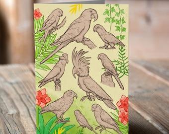 Parrots Greetings card