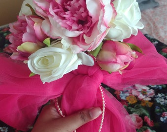 Peony and Rose pew markers w/ organza bow and bead strings
