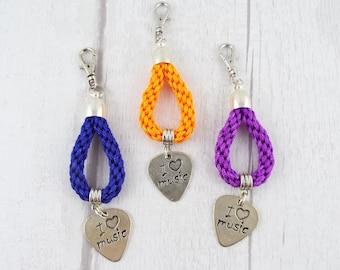 Music Lover (Hand Braided Cord Looped Keychain w/ Plectrum Charm) | Key Charm | Bag Charm | Kumihimo | Key Chain