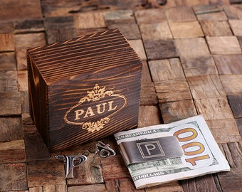 "Initial "" P "" Personalized Men's Classic Cuff Link & Money Clip with Wood Box Monogrammed Engraved Groomsmen, Best Man, Father's Day Gift"