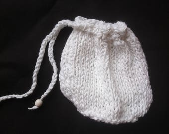 Hand knitted drawstring phone/purse bag, white cotton yarn