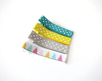 Polka Dots Party Hair Clips - Fully Lined Clips - Baby Girl Hair Clip - Fine Hair Clips - Set of 4