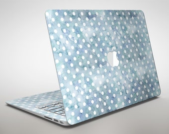White Polka Dots over Pale Blue Watercolor - Apple MacBook Air or Pro Skin Decal Kit (All Versions Available)