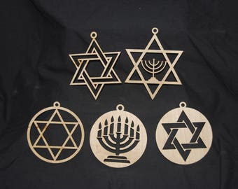 5 Hanukkah Ornaments (FREE SHIPPING)