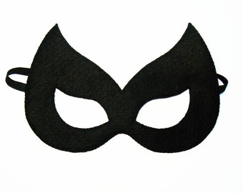 Catwoman felt mask (2 years - adult size) Black cat Halloween party favor costume Superwoman Supergirl gift for girl Dress up play accessory