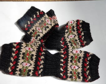 Hand Knitted Fingerless Mittens Extra Long, Baby Alpaca, Black with Colorful Nordic Style Detail