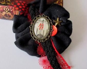 fancy fabric rosette brooch black red circus cezed handmade