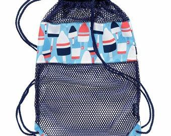 Oh Buoy Backpack - Beach Bag - Kids Shell Tote  - boys Beach Bag - Shell Tote - Boys Mesh Backpack - Boy Birthday Gift