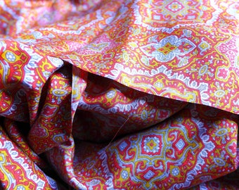Vintage Colorful Silk Twill Paisley Print, Silk Print in Yellow, Orange Gray White, Period Silk Fabric