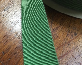 Vintage Gros Grain Ribbon in Moss Green, Cotton/Rayon Blend, 7/8 inches wide, Made in France - 50 yards