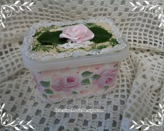 Cafe International Coffee Can, Redesigned Keepsake, Storage, Gift, Collectible Boxes,Hand Painted Roses and Accents, ECS