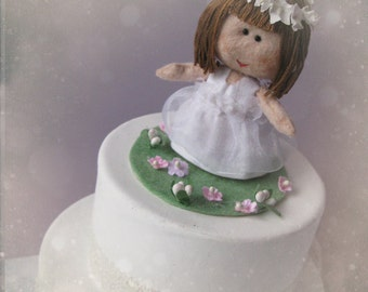 Custom Kid Cake Topper - Birthday, Baptism, Religious Communion or Confirmation Party - Personalized OOAK doll Hand made in France