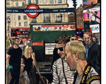 Signed Limited Edition Pastel A3 Print of Piccadilly Circus London by Adam F