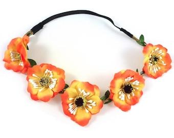 Wedding - orange flower Crown headband