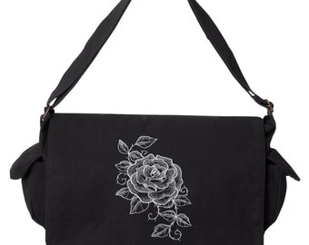 Chalked Rose Embroidered Canvas Cotton Messenger Bag