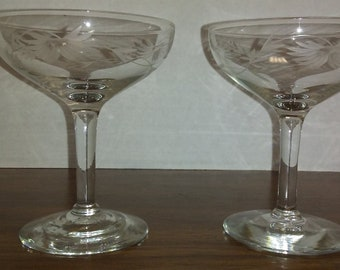 Vintage Etched Princess House Style Coupe Champagne Glasses, Stemware, Barware, Glassware