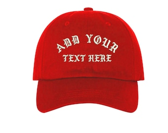 Custom Dad Hat Embroidered Dad Hat,YOUR TEXT HERE Kanye Custom Hat Personalized Baseball Cap,Choose Your Text,Custom Stitching, Red