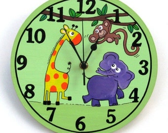 Green Wall Clock With Cute Animals Paintings