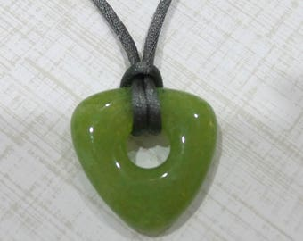 Olive Green Necklace, Fused Glass Pendant, Donut Pendant, Ready to Ship, Casual Jewelry, Olive Green Jewelry - Joella - 4756 - 4