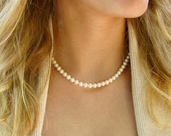 5.5-6mm Real Pearl Necklace - Freshwater Pearl Necklace - Adult Pearl Necklace - Classic Single Strand Pearls - Sterling Silver Clasp