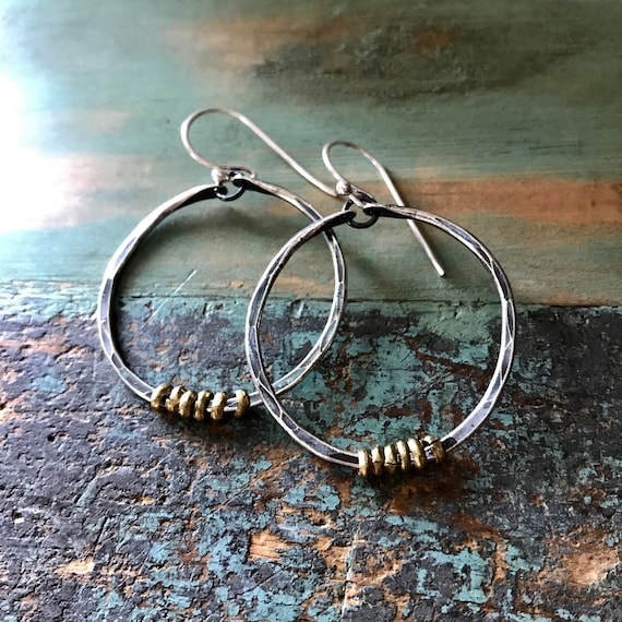 Small sterling forged hoops with brass hishi
