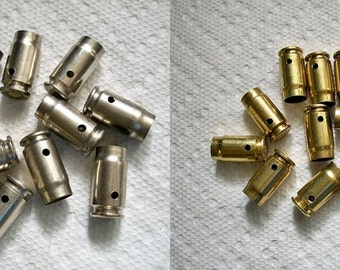 Bullet shell casing pendants, Lot of 5 Brass and 5 nickel .357 Sig Bullet Shell Casings, Pre-drilled for your jewelry needs.....Lot 81