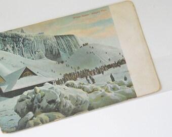 Vintage Postcard Winter Scene Niagara Falls Litho Chrome Germany