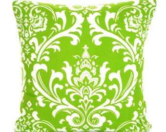 Green White Damask Pillow Cover, Decorative Throw Pillows, Cushions, Lime Green White Damask Pillows Couch Bed Sofa Pillows