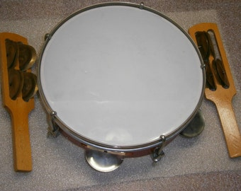 USSR Russian Soviet Vintage Сhildren's Musical Instrument TAMBOURINE two Jing Stick