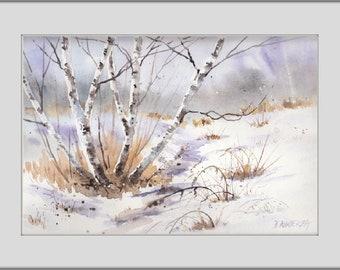 Winter, LANDSCAPE Watercolor Painting