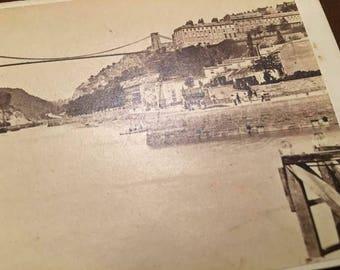 1890 Clifton Suspension Bridge Bristol, England Cabinet Photograph