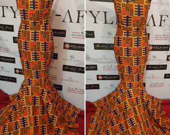 Custom Made African Print Strapless Fishtail  Evening/Prom Dress: Bisa