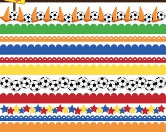 Soccer Borders- Soccer Digital Borders- Soccer Clipart - Invitations, Card Design, Scrapbooking, and Web Design