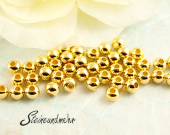 25x beads 4mm Small gilded art. 4301