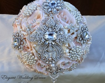 Pink and Silver BROOCH BOUQUET - Deposit for this Custom Pale Pink Wedding Brooch Bouquet, Silver Jeweled Bouquet, Pink Wedding Bouquet