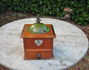A Very Nice French Wooden Coffee Grinder By Peugeot Freres  Good Working Order  Great In Country / Farmhouse Kitchen