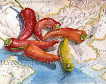 Peppers Watercolor, Vegetable Still Life Watercolor, Map Watercolor, Archival Print