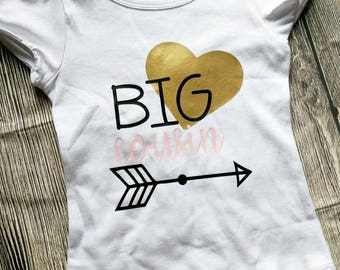 Big cousin shirt, girls cousin shirt, cousin t shirt, pregnancy announcement cousin shirt, big cousin bodysuit, cousin shirt, sibling shirts