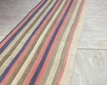 Turkish Rug, Vintage rug, Runner rug, Flat Weave, faded muted rug, Rainbow Kilim, Bohemian Rugs, New Home Gift, Wedding Gift, 2.17x12.47 ft
