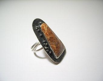 Coral fósil, anillo stament, hippie