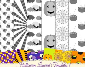 Layered Paper Template, PSD Template, Pattern Template, Instant Download, Commercial Use, CU Template,  Digital Download,Halloween Template