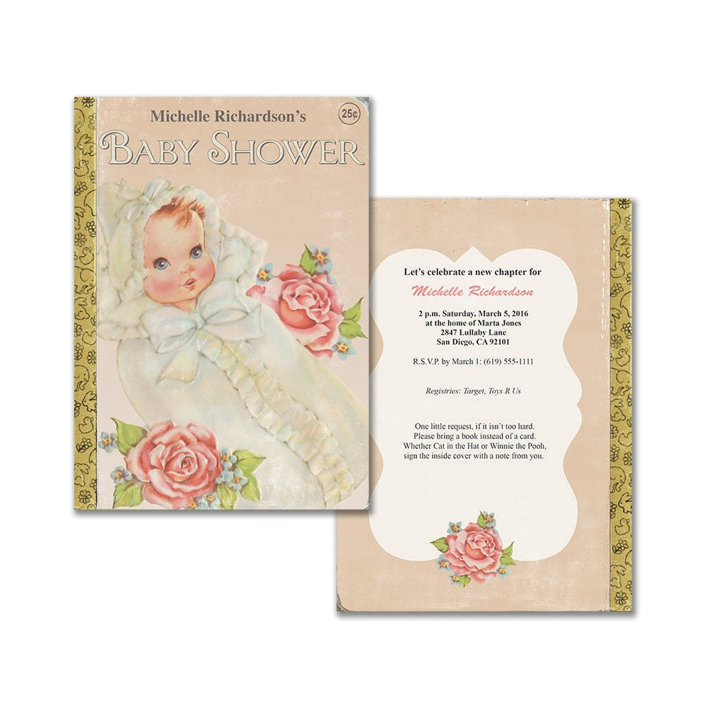 Vintage baby shower invitation / book themed baby shower