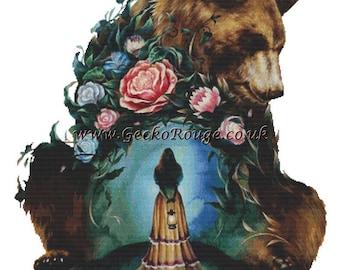 NEW Bear Cross Stitch Kit, Zazac Namoo , Watercolor Art, Counted Cross Stitch KIT, 'Flower Bear' Cross Stitch Pattern, Modern Cross Stitch