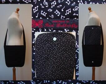 Black Musical Notes Messenger Bag