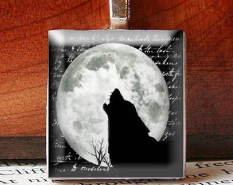 Scrabble Tile Pendant, BEAUTIFUL Wolf Howling at a the Moon, No. 21474 by Smash Gardens on Etsy, Bridesmaids Gifts, Stocking Stuffers