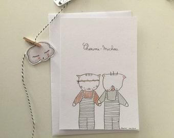 "Postcard  for girl, ""Choumi et Michou, flower power"""