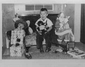Christmas Morning Presents Santa 1960s Vintage Photos Vernacular Snapshot Black and White Photograph #35-39