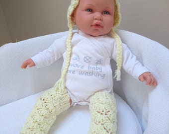 Baby crochet hat and leg warmers set (any size available)